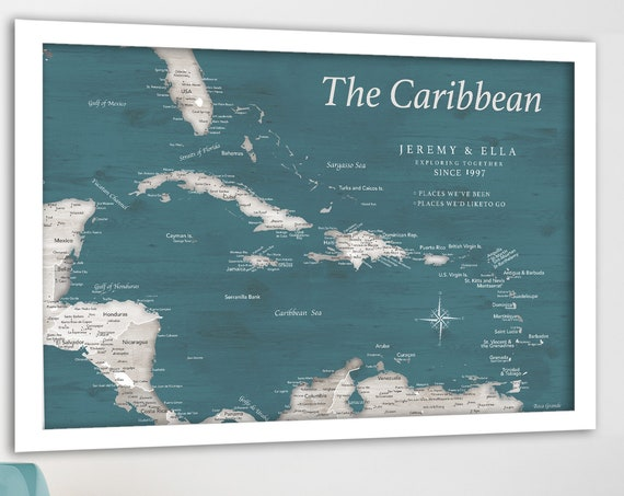 Caribbean Vacation Travel Map, 18x24 to 40x60 Framed or Push Pin Map, Canvas, Island Map Poster Executive Style Map of Caribbean Islands Art
