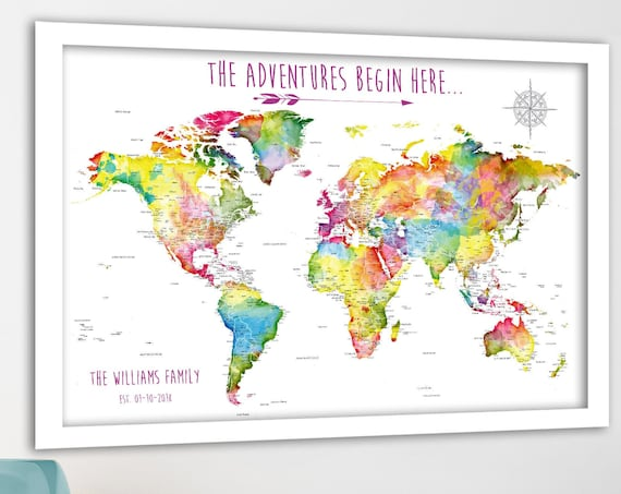 World Map Pin Board Map with Canvas, Family Push Pin World Map, Perfect Anniversary Gift for Travel. Large Map Poster or Printable Options.
