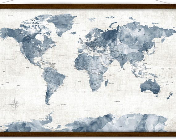 Neutral & Navy Map of the World, Personalized Map, Canvas World Map Print, Large Neutral Wall Map, Personalized Adventure Map for a Family