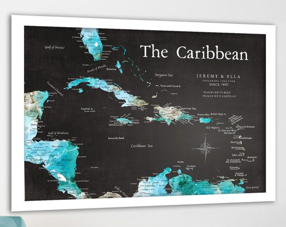 Caribbean Push Pin Map, Track Island Adventures and Cruises around the Caribbean area.  Perfect gift for cruise, island lovers, tropical art