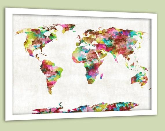 Map Wall Art Canvas or Poster, Feminine World Map, White Framed Wall Map for Girls Bedroom, Dorm Wall Art Print, Mark Travels on Map Art