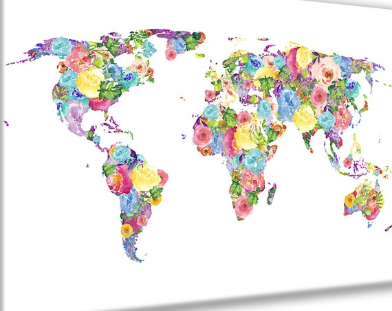 Large Watercolor Flower World Map, Feminine art print world map poster great for Mother's day print gift. Big, pretty colorful floral print