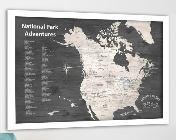Push Pin map National Parks USA and Canada Map for List of Park Hikes, Traveler Gift, Outdoor Adventurer US Parks Pinboard Gift for Husband