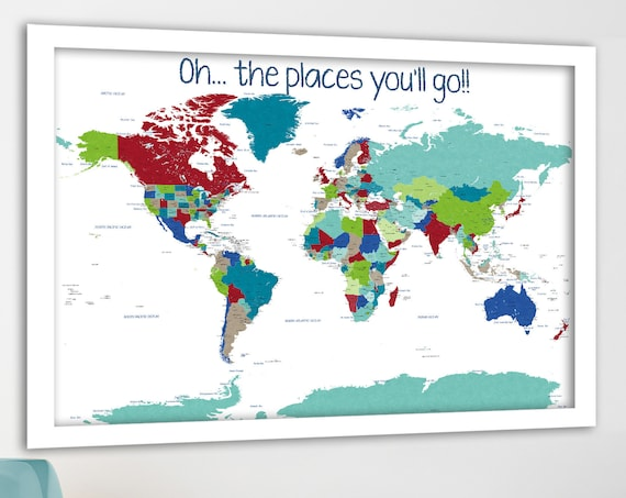 Educational Map Print, Bright colours, Push Pin world map with quote, World map for boy, He's Going Places World Map, Adventure Awaits