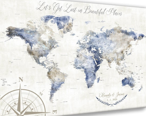 Large Push Pin Map, Canvas, Poster or World Map Print for Traveling Family. Personalized Watercolor Map, Gift for Wife, Adventure Theme Map