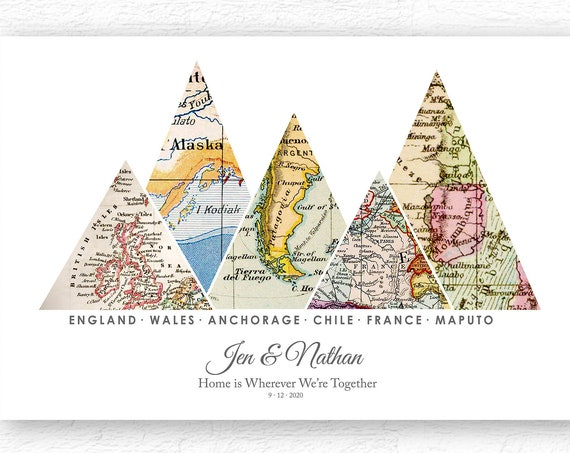 Customized Travel Map Print Gift, Up to 10 Locations, Personalized Housewarming Gift, Life is a Journey Wedding Couple or Anniversary Gift