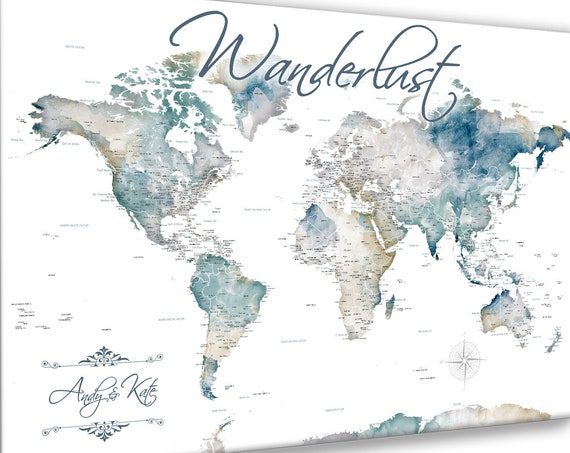 Wanderlust Push Pin Map, Canvas or Print. Any Tile, Custom Wording World Map, Personalized Legend, Gift for Couple, Travel Map for A Family