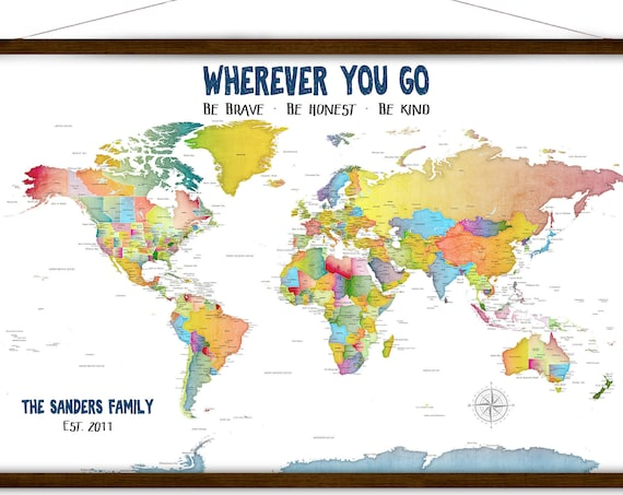 Home Schooling Wall Map, Personalized Family World map, Fun Family Travel Wall Art, Large Canvas World Map, Military Family Map of the world