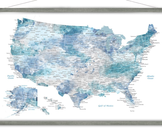 Large USA Map, Soft Blue Watercolor United States Map, Canvas Map Print of USA, Wall Map Wood Frame, Road Trip States and Detailed Cities