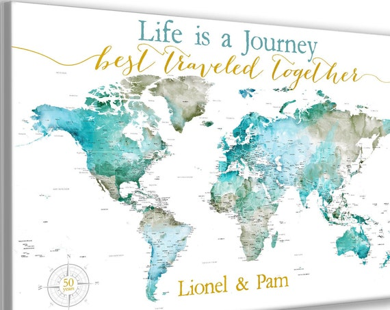 50th Anniversary World Map, Push Pin Canvas, Framed or Print, Travel Map for Personalized Anniversary Gift for Parents, Any Number of Years