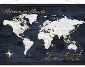Anniversary Map of the World, Personalized map, Adventure Awaits Family Travel map, Large Canvas World Map Print, Military Family Love Gift