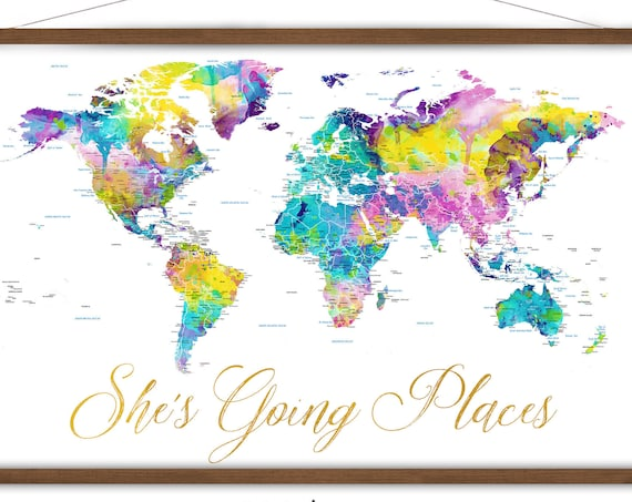 Pretty Canvas Map of the World, Personalized Map, Gift for Niece World Map Print, Large Dorm Wall Decor, She's Going Places Personalized Map