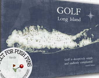 Long Island Golf Map, Golfing Gift for Long Is, Personalized Golfer Gift Art Print, Custom Push Pin map, canvas or Framed Long Is. New York