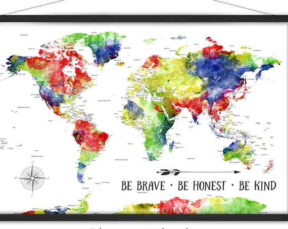 Bright Colorful Map of the World map for Kids, Children's Adventure Travel map, Large Canvas World Map Print, Playroom Wall Decor, Map Art