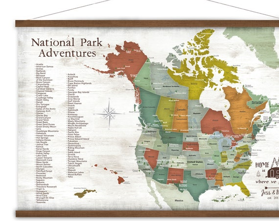 National Parks Wall Map, Personalized USA and Canada Map  Large Canvas Map of North America, Adventure Awaits, Hiker Gift, Personalized Map