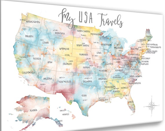 USA Travel Map, Pretty USA Pinboard Wall Map for Young Woman, Gift for Traveler, Gift for Girlfriend, Teen Dorm Canvas Wall Art or Pin Map