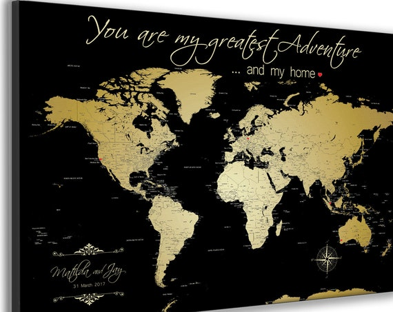 Black and Gold World Map Gift, You are my greatest Adventure or your Own Wording, Personalized Text, Customized Anniversary Gift for Parents