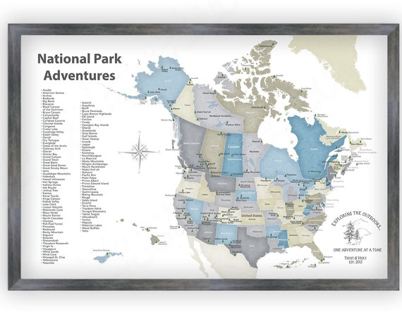National Parks Map of USA and Canada Canvas, Print or Push Pin Map, List of Parks, Custom Hiking Family Gift, Camper Decor, Trekking Gift