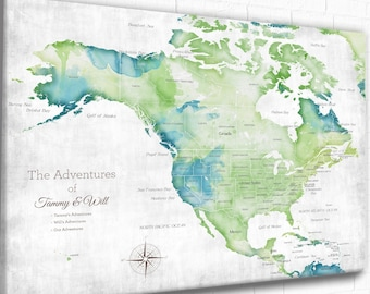 USA and Canada, Mexico Central America Map, Map for Man Cave, Gift for husband, Anniversary Map, Family's Travel Map, Our Travel Memories