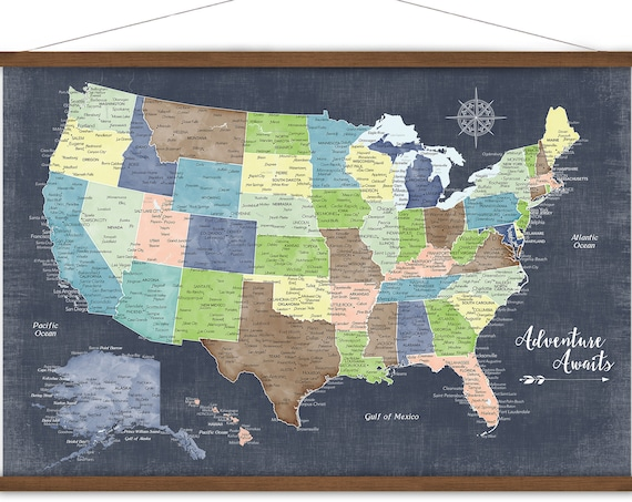 Family Map of the USA, Personalized map, Last Name, Family Travel map, Large Canvas US Map Print, Military Family Long Distance Love Gift