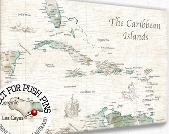 Vintage Push Pin Map of Caribbean with Modern Details, Island Sailing Adventures, Cruising Caribbean Map, Personalized Map Canvas of Islands