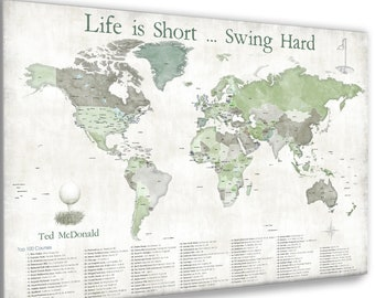 Push Pin Map of World Top 100 Golf Courses, Anniversary gift for wife, Personalized golf gift for husband, Golfing couple. Golfers pin map