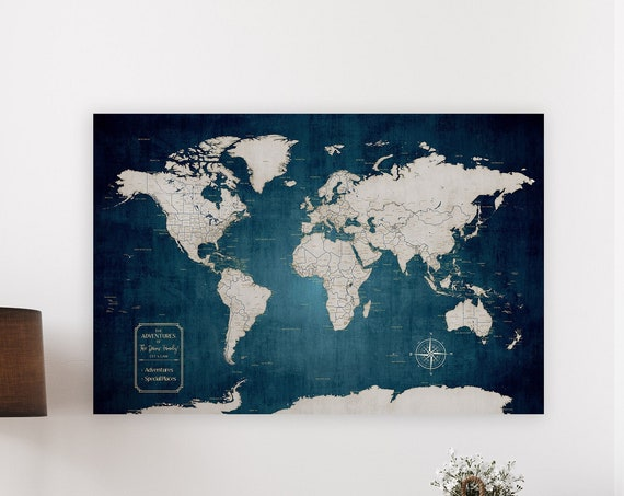 Executive Style World Map, Office Wall Decor, Personalized Print or Canvas Floating Framed Push Pin Map, Golden Anniversary Gift forParents