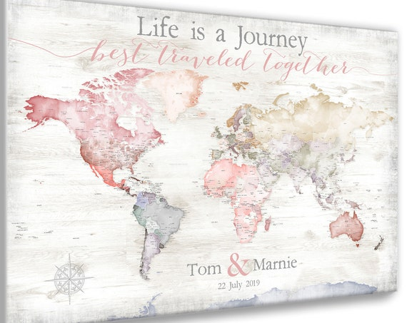 Gift for Girlfriend, Romantic Personalized Print. Rustic Farmhouse Style Map of the World with extra details of USA, Print or Push-Pin Map