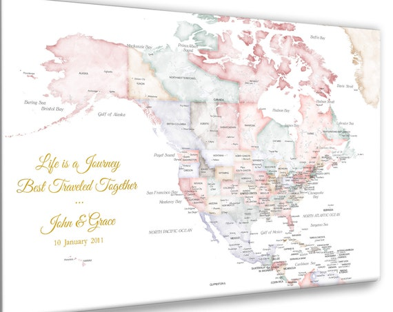 North America Map USA, Canada and Caribbean in Soft Pastel Map Colors, Push Pin Map, Canvas USA Map or Download for DIY, Anniversary Pin Map