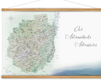Adirondack Park Map, New York State Map, Unique New York Gift,  Husband Gift for Hiker Friend, Custom Adirondacks Mountains Canvas Map