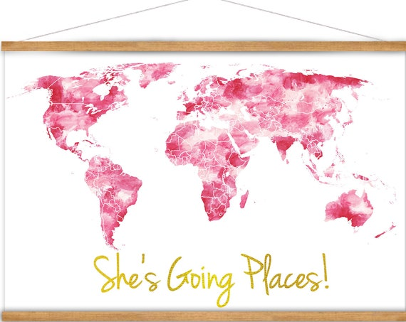 She's Going Places Pink World Map Canvas with Hanging Frame, Graduation Gift, Baby Girl Nursery Watercolor Style Wall Art Map of the World