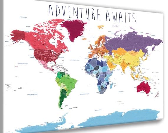 Educational World Map Print, Detailed World Map, Push Pin Foam Map, World Map with quote, World map for kids, Adventure Awaits World Map,