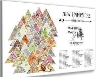 NH Mountain Peaks Print, New England Peak Bagging, New Hampshire 4000 ft footers, Adventure awaits, Adventurous Hikers Wall Art Push Pin Map