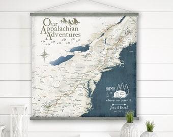 Appalachian Gift for Hiker, Rustic wall decor, Map of Appalachian Trail Map Canvas, RV Camper Wall Art, Gift for Hiker, Rustic wall decor