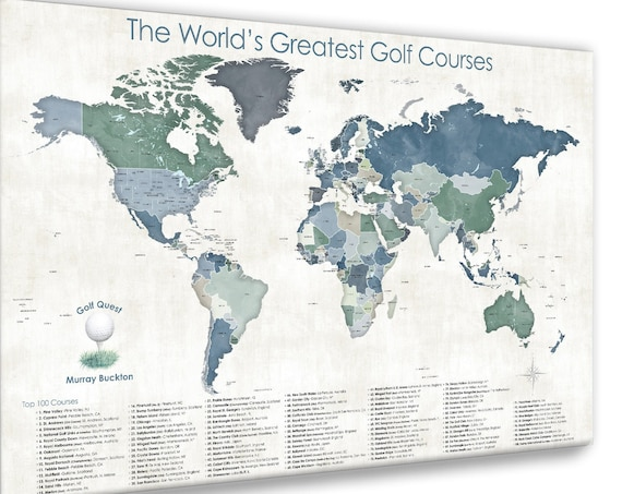 World Top 100 Golf Courses, Best Golfers Bucket List, Pin Map for Popular Golfing Destinations on our Planet, Golf Loving Anniversary Gift