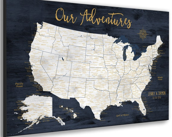 Anniversary Gift for Husband USA Travel Map Print, Push Pin Map, Framed or Canvas, US Pin Map with Key, Detailed cities. Large Wall USA Map