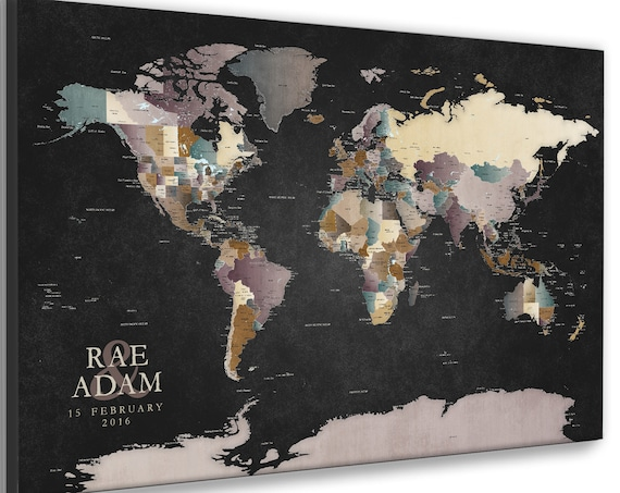 World Map with Personalized Text, Wall art with Jewel Colors, Detailed Map for Push Pins Add Own Wording, Anniversary Travel Adventure Map,