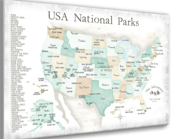 National Park Gift for Father, Husband Outdoor Adventure Map for Man, Personalization Optional, Use Pins to Check Off Parks on List of Parks