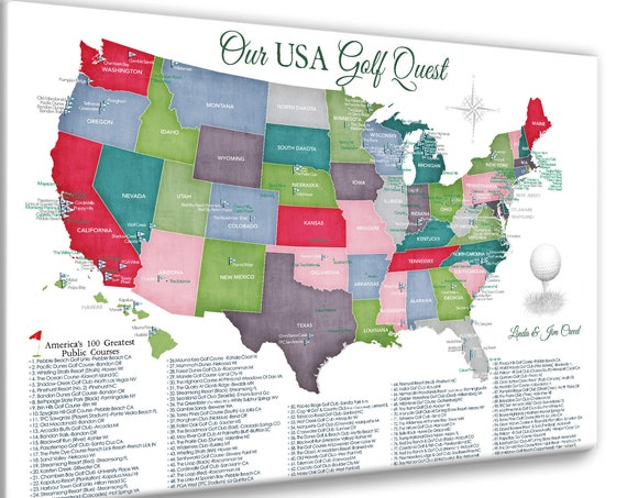 Top 100 Public Golf Courses Map of USA, Gift for Golfer, Personalized Golf Print of American Golf Map, Push Pin Golfing Bucket List Gift