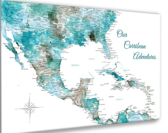 Personalized Caribbean Map of Travels, Island Adventures or Cruise Map, Push Pin Map, Canvas, or Print. Optional Motif and Title, Island Art