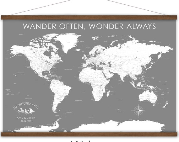 Custom Wording World Map of the World, Personalized Family map, Adventure Awaits Travel map, Large Canvas World Map Print Grayscale Wall Art