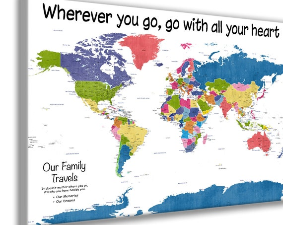 Bright Family Travel Map for Push Pins. Mounted on Foamboard to make Pinboard Map. Very Large Educational Detailed World Map, Canvas option