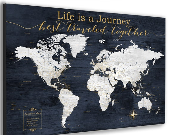 World Map Gift, Personalized Text, Customized Anniversary Gift for Parents, Life is a Journey, Detailed Map for Push Pins with Own Wording