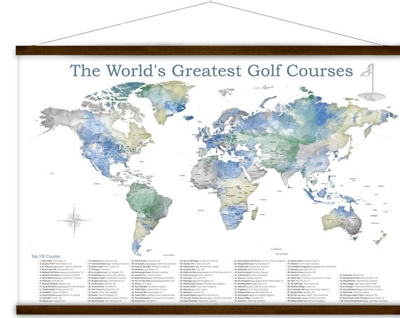Best Golf Courses in the World,  Personalized map of Golfing locations, Golf Course Quest List, Golf Wall Art Canvas, Golf Gift for Husband