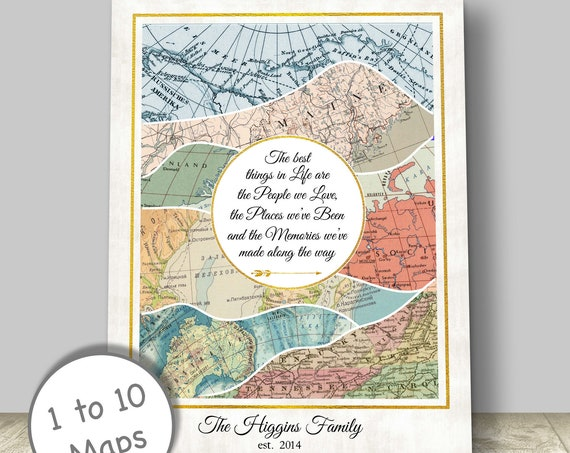 Anniversary Gift, Family Adventures or Retirement Travel Themed Gift, Personalized Vintage Map Adventure Map Canvas, Print or Framed.