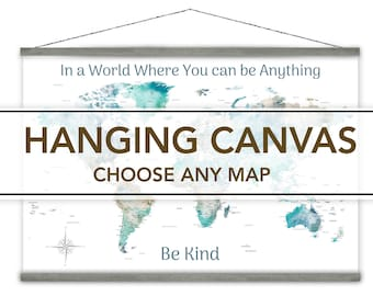 Canvas Wall Map Comes Ready to Hang on Timber Bars. Turn Any Happy Place Art Map detailed map. Inexpensive Personalized Travel Map Gift