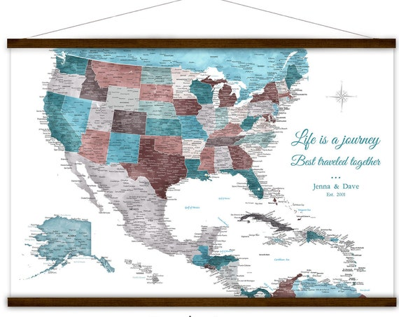 Large USA and Caribbean Island Map - Travel Map Canvas
