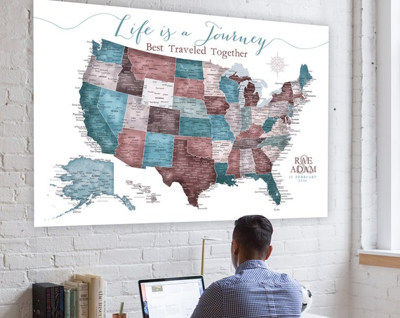 Large USA Push Pin Map, Gift for wife, Travel themed Office Wall Art, USA Map. Canvas, Large Poster or Pinboard map, Personalized Legend
