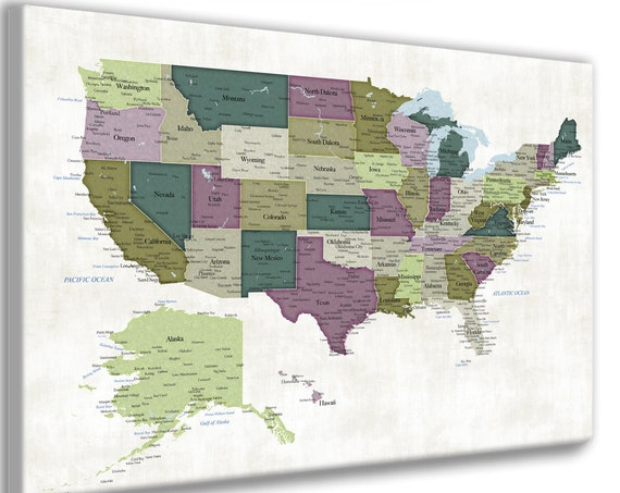 Map of USA with states and cities. US push pin map with poster or canvas map options. Mark vacation travel locations on a large wall map.