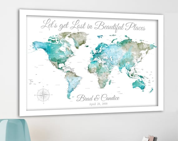 Push Pin World Map for a couple, Perfect Anniversary Gift for Travelers. Pin Board Map with Canvas, Large Poster or Printable Options.